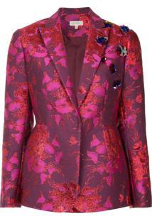 Delpozo Blazer Com Bordado Floral - Rosa