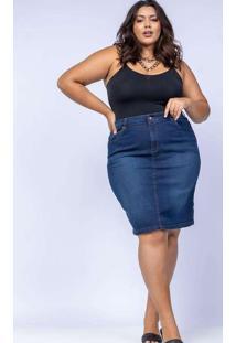 Saia Reta Almaria Plus Size Shyros Jeans Azul