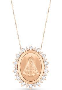 Pingente Nossa Senhora De Aparecida Ouro Rosã© E Topã¡Zios