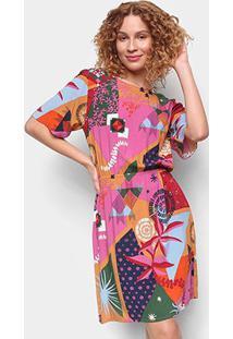 Vestido Cantão Curto Estela - Feminino-Estampado