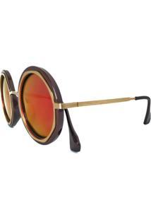 Óculos De Sol Cuco Blue Redondo Espelhado Polarizado Laranja