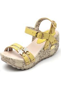 Sandália Betina Beker Top Franca Shoes Plataforma Anabela Lima Amarela
