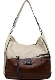 Bolsa De Couro Recuo Fashion Bag Sacola Cacau/Caramelo
