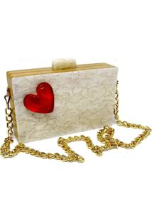 Bolsa Clutch Heart Pérola - Tricae