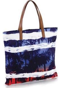 Bolsa Tote Estampada Manly - Feminino-Azul+Branco
