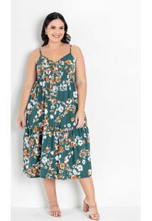 Vestido Floral Verde De Alças Plus Size