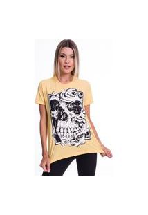 Camiseta Jazz Brasil Caveira Arabescos Amarela