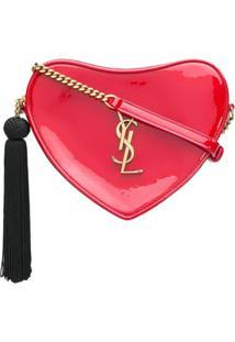 Saint Laurent Bolsa De Couro Com Formato De Coração - Vermelho
