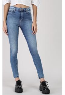 Calça Jeans Feminina Sawary Push Up Cigarrete Cintura Média Azul Médio