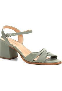 Sandália Shoestock Salto Bloco Drapeado - Feminino