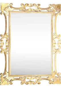 Espelho Decorativo Floral C/ Dourado