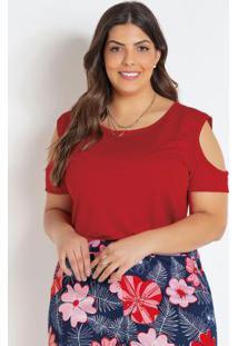 Blusa Com Ombros Vazados Vermelha Plus Size