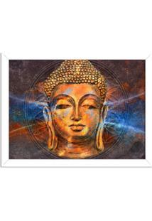 Quadro Decorativo Energias Positivas Buda Branco - Médio