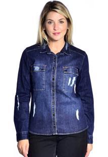 Camisa Jeans Loony Com Bolso Jeans Azul