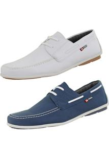 Kit Mocassim Casual Cr Shoes Drive Branco Azul.