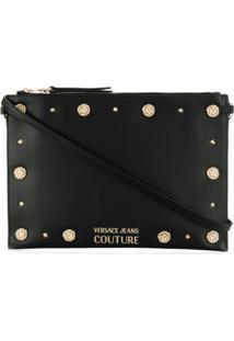 Versace Jeans Couture Lion Head Studs Crossbody Bag - Preto