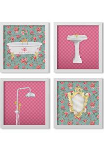 Kit 4 Quadros Los Quadros Decorativos Banheiro Artístico M2 Com Moldura Branca E Vidro