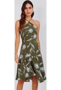 Vestido Curto Flor De Vento Verde