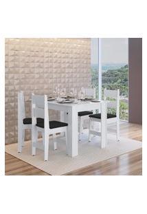 Conjunto Mesa Fixa 4 Cadeiras Mdf Milano Preto Lilies