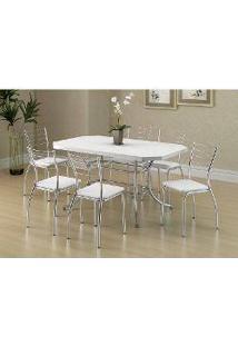 Sala De Jantar Carraro Mesa 1507+6 Cadeiras Crom/Branco
