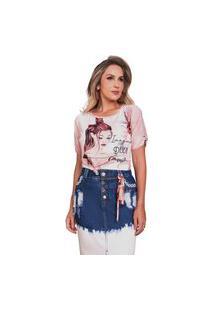T-Shirt Com Amarração Nas Mangas E Galão Na Gola Fascínius Rosa