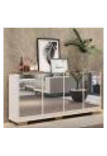Aparador Buffet 4 Portas C/ Espelho E Pés Quadrados Vegas Multimóveis Branco/Natural