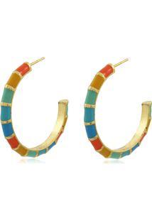 Brinco Viva Jolie Argola Colors Grande Mix Banho Em Ouro - Dourado/Multicolorido - Feminino - Dafiti