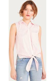 Camisa Listrada - Rosa Claro & Off Whiteshoulder