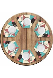 Jogo Americano Love Decor Para Mesa Redonda Wevans Abstract Colors Kit Com 6 Pçs