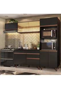 Cozinha Completa Madesa Reims Xa260001 Com Armário E Balcão - Preto/Rustic Preto