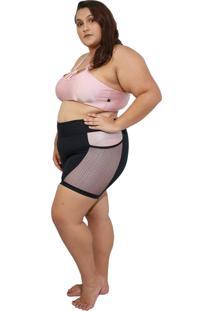 Shorts Fitness Life Corpusfit Com Bolso Em Arrastão Plus Size - Preto E Rosê