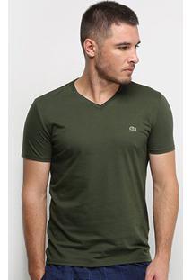 Camiseta Lacoste Gola V Regular Fit Masculina - Masculino-Verde Escuro