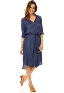 Vestido Jeans Sob Midi Chemise Mangas 3/4 & Faixa De Amarrar - Feminino-Azul