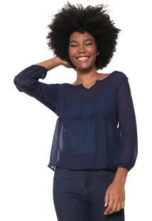 Blusa Fiveblu Transparente Azul