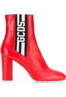 Gcds Ankle Boot De Couro Com Logo - Vermelho