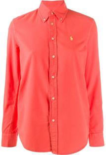 Polo Ralph Lauren Camisa Com Logo Em Pesponto - Laranja