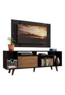 Rack Madesa Cancun E Painel Para Tv Até 58 Polegadas Com Pés - Preto/Rustic D8D8 Cor:Preto/Rustic