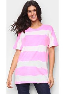 Camiseta Lança Perfume Longa Tie Dye Feminina - Feminino-Rosa