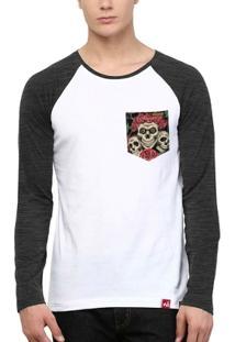 Camiseta Wevans Bolso Aplique Caveiras - Masculino