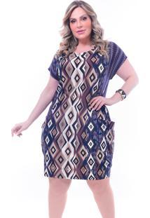 Vestido Plus Size Melinde Dubai Estampado Marrom - Kanui