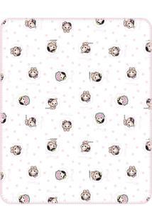 Cobertor Incomfral Turma Da Mônica Baby 70 X 90 Cm Branco/Rosa