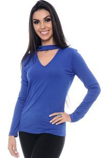 Blusa Chocer B'Bonnie Decote V Aurora Azul Royal