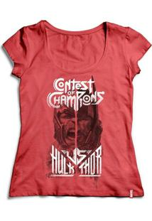 Camiseta Feminina Marvel Thor Ragnarok Versus - Feminino-Vermelho