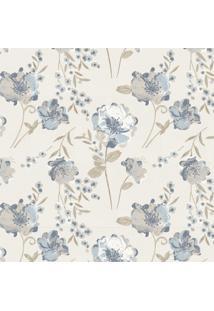Papel De Parede Stickdecor Adesivo Floral Vintage Azul 3Mt A 1,00Mt L