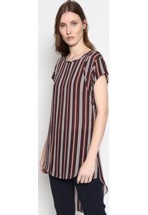 Blusa Lari Listrada Em Seda - Vermelha & Azulle Lis Blanc
