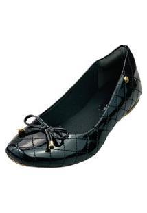 Sapatilha Bico Quadrado Love Shoes Confort Matelasse Laçinho Verniz Preto
