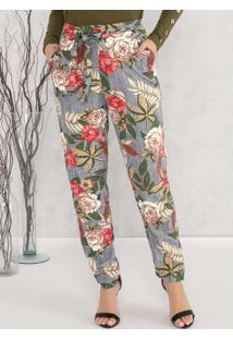 Calça Com Bolsos E Faixa Floral Bege