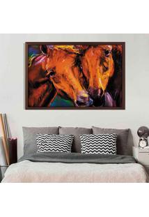 Quadro Love Decor Com Moldura Horses Madeira Escura Grande
