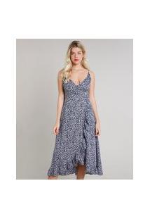 Vestido Feminino Mindset Midi Envelope Estampado Floral Alça Fina Azul Marinho