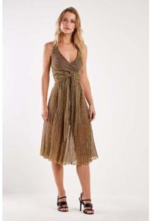 Vestido Tricot Amarração Plissado Sacada Feminino - Feminino-Dourado